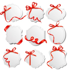 set of labels with redd bows and ribbons vector image vector image