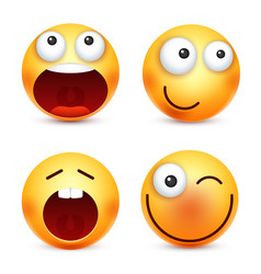 smileyemoticons set yellow face with emotions vector image vector image