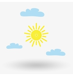Sun and cloud weather web icon vector