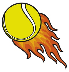 tennis ball in fire vector image vector image