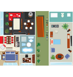 top view apartment interior set vector image