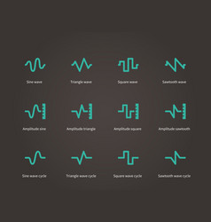 Voice sound and music compression types icons set vector