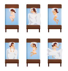 Woman sleeping poses top view vector