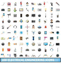 100 electrical engineering icons set cartoon vector