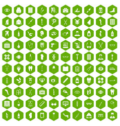 100 pharmacy icons hexagon green vector