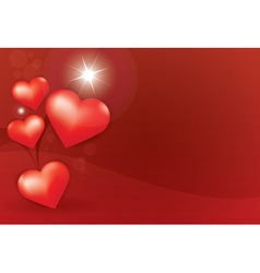 Heart star red background vector image