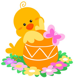 cute easter chick and egg vector image