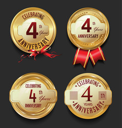 Anniversary retro golden labels collection 4 years vector