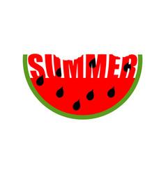 Watermelon summer emblem piece of red fruit logo vector