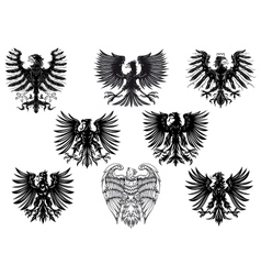 Heraldic royal medieval eagles vector
