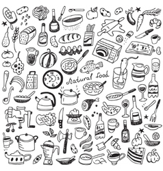 Cookery natural food - doodles collection vector