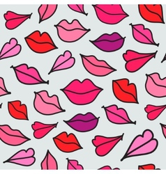 Red hand drawn kisses vector