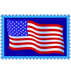 USA flag on stamp vector image