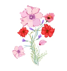 Original watercolor with flowers vector