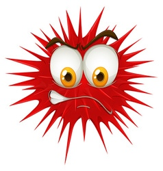 Red thorn ball with angry face vector