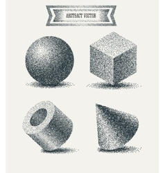 Halftone elements with dots dotwork engraving vector