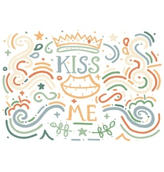 Kiss me hand drawn vintage print vector