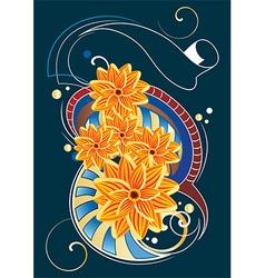 Ornamental floral design vector