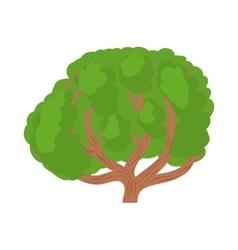 Big green tree icon in cartoon style vector image