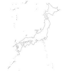Japan Black White Map Royalty Free Vector Image - Japan map silhouette
