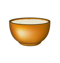 Bowl in brown design with white rice vector