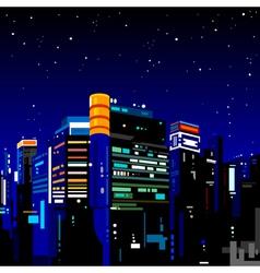 Building night city vector image vector image