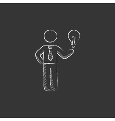 Business idea drawn in chalk icon vector