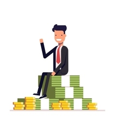 Businessman or manager is sitting on a big pile of vector image