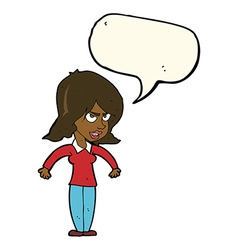 Cartoon mean woman with speech bubble vector