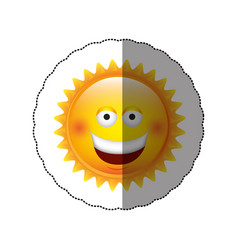 color sticker happy sun icon vector image