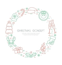 Colored Christmas holidays circle frame with vector image