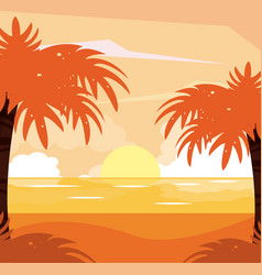 colorful background of beach sunset landscape vector image
