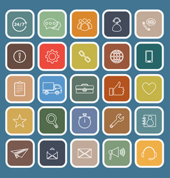 customer service flat icons on blue background vector image vector image