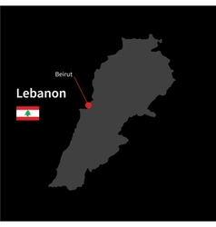 Detailed map of lebanon and capital city beirut vector