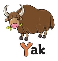 Funny wild yak for abc alphabet y vector