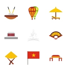 Holiday in vietnam icons set flat style vector