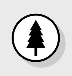 New year tree sign flat black icon in vector