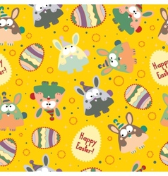 Seamless pattern with Easter eggs and bunnies vector image vector image