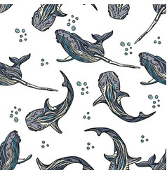 seamless pattern with whales and bubbles vector image vector image