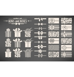 Set of bows and gift boxes vector image