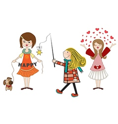set of three happy young girls isolated on white vector image vector image