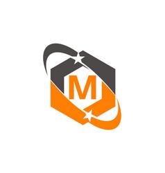 Star swoosh letter m vector