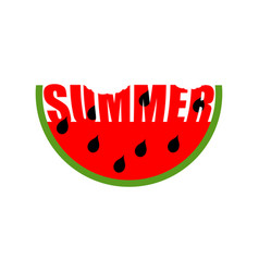 watermelon summer emblem piece of red fruit logo vector image vector image