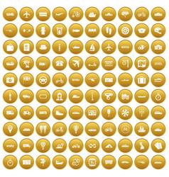 100 public transport icons set gold vector