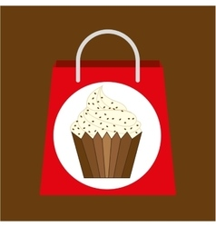 Shopping bag vanilla cupcake vector