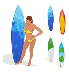 Isometric woman is standing with a surfboard in vector