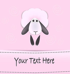 Sheep greeting card for children vector