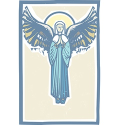 Angel winged virgin mary vector