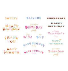 Happy birthday baby shower valentine s day vector