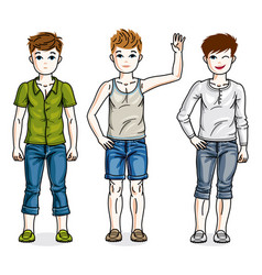 Child young teen boys group standing wearing vector